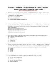 6. FINA 405 - Futures and Options Additional Practice Questions for Extra Credits (handout) (1)