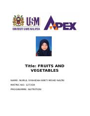 lab report fruits and vegetables