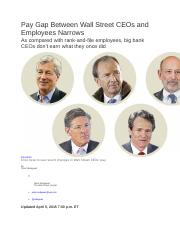 3. Pay Gap Between Wall Street CEOs and Employees Narrows 04 05 2015