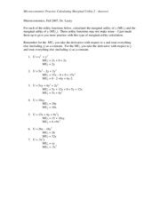 Practice - Marginal Utility Answers