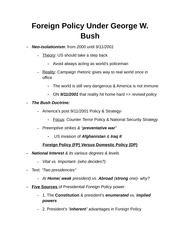 Foreign Policy Under George W Notes