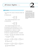 2B Linear Algebra Questions from Exercise Sheet 2