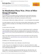 In Manhattan Pizza War, Price of Slice Keeps Dropping  NYTimes