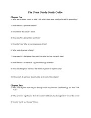 gatsby study questions w answers the great gatsby chapter one 1 rh coursehero com great gatsby chapter 1 study guide questions answers great gatsby guided reading questions answers