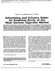 Leeflang и Reuijl - 1985 - Advertising and Industry Sales - an Empirical-Stud