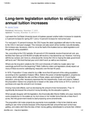 Long-term legislation solution to stopping annual tuition increases - Opinion - Daily 49er - Califor