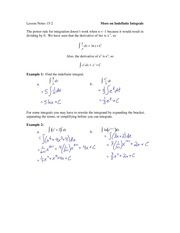 15.2 More on Indefinite Integrals