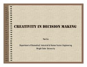 Lecture Notes on Creativity in Decision Making