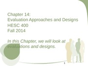 Chapter 14 Evaluation Approach & Design