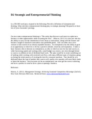 D2 Strategic and Entrepreneurial Thinking