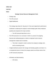 HRSC 7717 Notes on Strategic Human Resource Management Tools