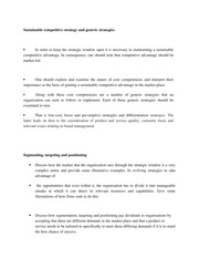lecture notes on Sustainable competitive strategy and generic strategies