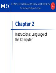 Chapter 2 Instructions Language of the Computer