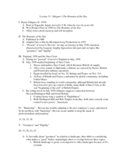 English 168 Lecture 11 Outline