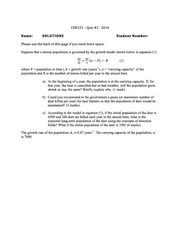 CHE 222 Spring 2014 Quiz 2 Solutions