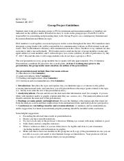 Group Project Guidelines ECO3704