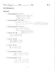 Factoring quiz review with key