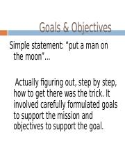 Lesson III- Establishing Goals and Objectives