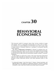 30 Behavioral Economics