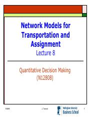 Lecture 8 - Network Models