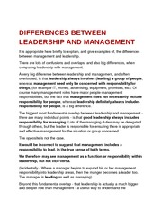 differences between leadership and management