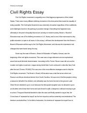Civil Rights Essaydocx  Chelsea Lararangel Civil Rights Essay The  Civil Rights Essaydocx  Chelsea Lararangel Civil Rights Essay The Civil  Rights Movement Is Arguably One Of The Biggest Progressions Of The United