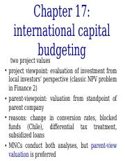 chapter 17 capital budgeting