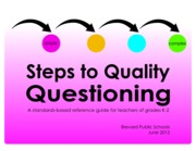 K-2 Steps to Quality Questioning with Cover
