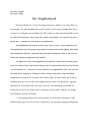 About my neighborhood essay
