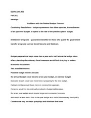 ECON 3369.465 Notes on Problems with the Federal Budget Process