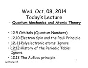 Chemistry 121 Quantum and Atomic Theory 2 Lecture