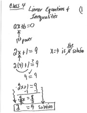 Class 4 Notes (1st Degree Equations abd Inequalities)