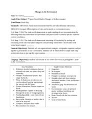 Changes in the Environment lesson plans