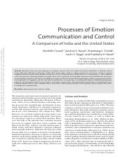 Processes of Emotion-Communication and Control.Comparison of U.S. and India