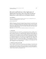[6] Research and Prediction of the Application of Multimedia Teaching Aid in Teaching Technical Educ