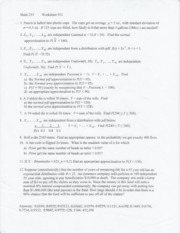 Worksheet 11- CLT, Continuity correction
