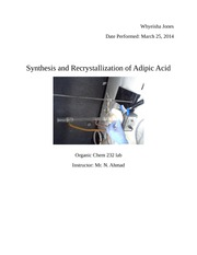 Synthesis and Recrystallization of Adipic Acid lab