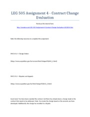 LEG 505 Assignment 4 - Contract Change Evaluation - Strayer University NEW