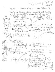 Pre-Calculus Quiz with Answer Rational Equations