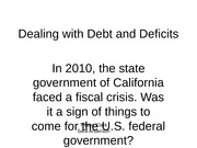 Project: Debts and Deficits
