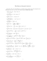 Miscellaneous Integrals (Answers)