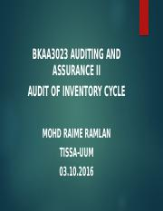 BKAA3023 Topic 5 Audit of Inventory Cycle
