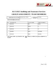 AGGC925 Auditing and Assurance Services Group Assignment.docx