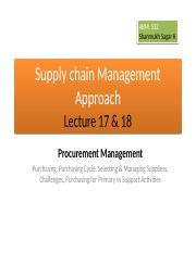 ABM 532, Lecture 17 & 18, Procurement Management