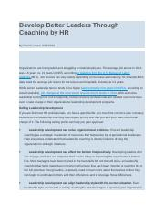 Develop Better Leaders Through Coaching by HR