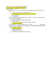 The Clean Water Act_Multiple Choice Questions
