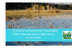 Principles and Practices for  Sustainable Water Management _At a farm level