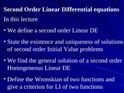 04 Second Order Linear Differential Equations