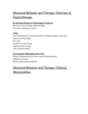 Abnormal Behavior and Therapy