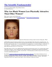 Kanazawa, Satoshi. -Why Are Black Women Less Physically Attractive Than Other Women-- Psychology Tod